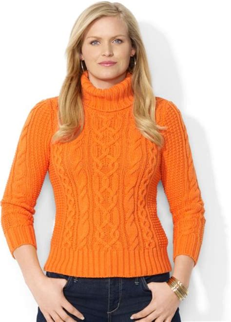 orange turtleneck sweater by ralph plus size cableknit turtleneck