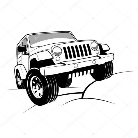 jeep illustration monochrome detailed cartoon off road jeep climbing rocks