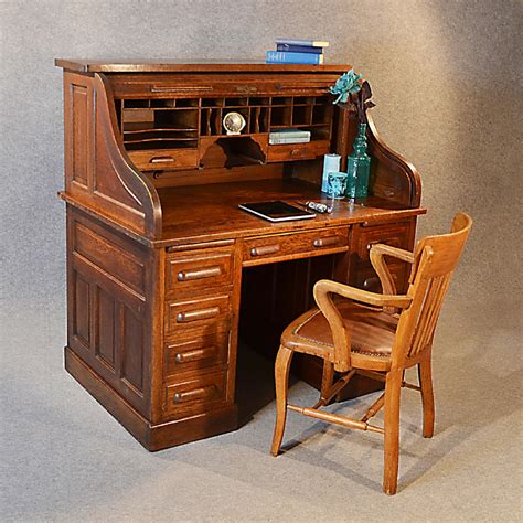 vintage bureau antique roll top writing bureau desk oak edwardian globe