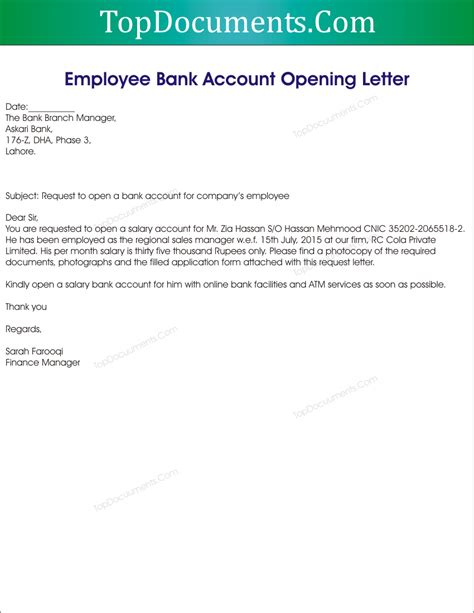 application letter   bank account sample letter
