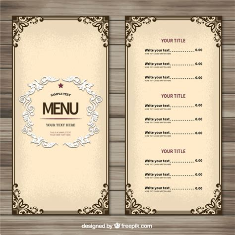 modele cuisine cagne ornement modèle de menu télécharger des vecteurs