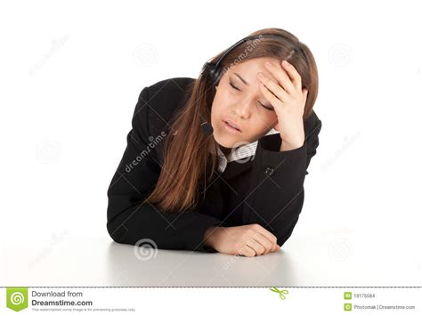 Tired Young Customer Service Operator Girl Stock Photo