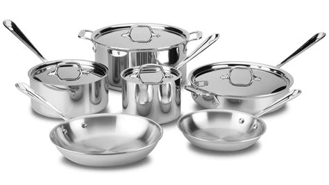 clad cookware stainless piece steel sets tri