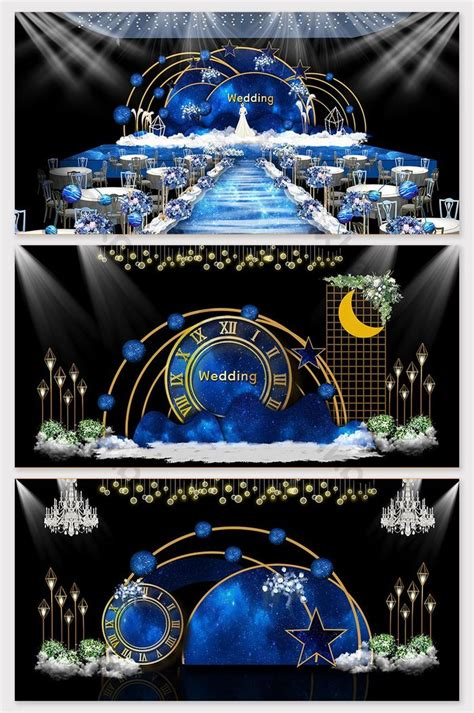 blue star theme wedding effect picture decors