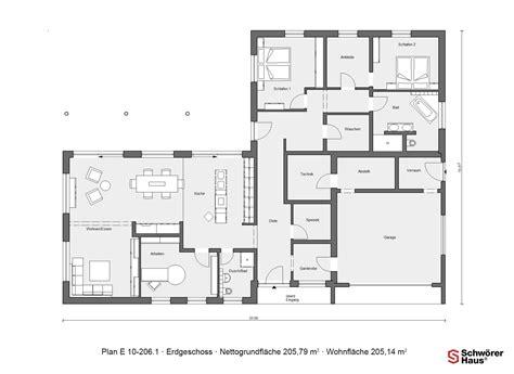 Schwörer Haus Grundrisse by Grundriss Erdgeschoss E 10 206 1 Bungalow In L Form