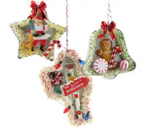 vintage cookie cutter christmas ornaments set of 3 santa claus