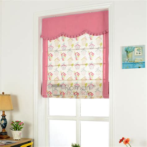 Pink Bird Cute Patterned Roman Shades For Kids