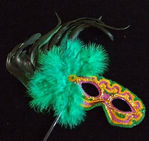Mardi Gras Colors Green Feather Mask Masquerade Costume | eBay