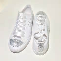 wedding shoes rainbow monochrome white rhinestone converse
