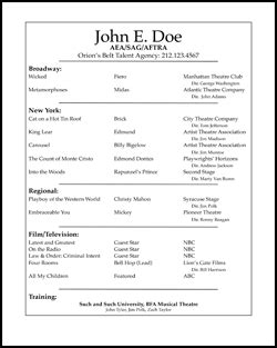 acting resume samples  examples ace  audition