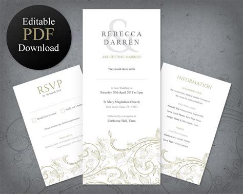 Gold Wedding Invitation Template Details Card & Rsvp Set