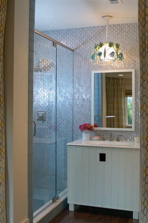 neutral bathroom ideas sparkling aluminum tiles calming blue hues and a