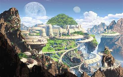 Futuristic Anime Fantasy Moon Building Town Mountains