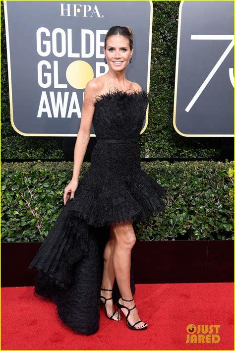 Heidi Klum Looks Glam Black The Red Carpet Golden
