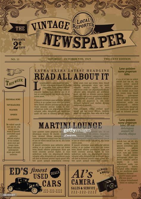 vintage newspaper layout design template high res vector