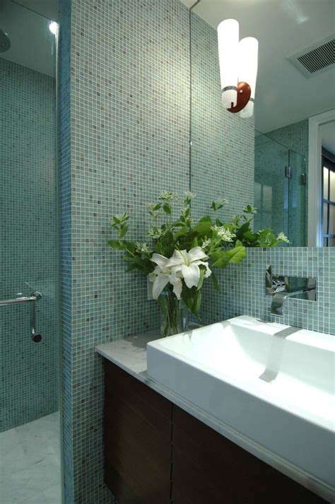 teal glass tile bathroom contemporary  green beach