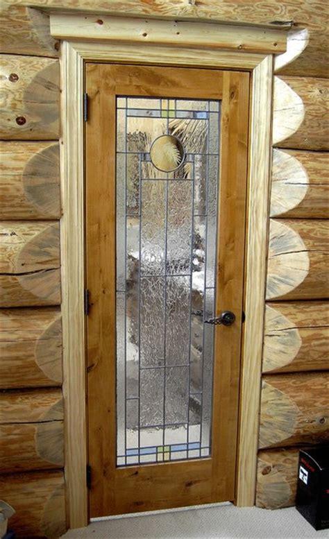 knotty alder interior door  leaded glass traditional