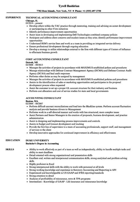 Resume For Accounting by Accounting Consultant Resume Sles Velvet