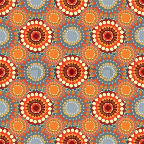 Seamless vintage retro pattern orange textile. Circles and ...