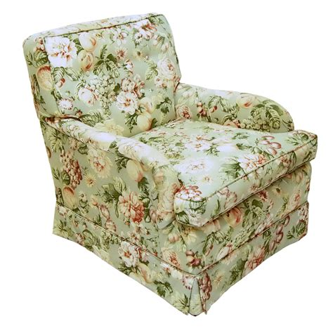vintage dunbar style floral arm chair and ottoman price