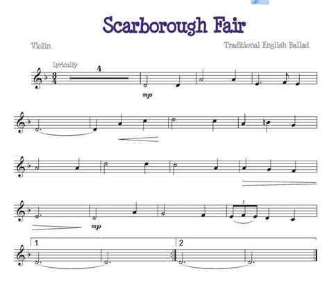 Scarborough Fair For The Beginner Violinist Free