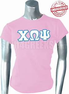 chi omega psi greek letter t shirt pink embroidered With chi omega letter shirts