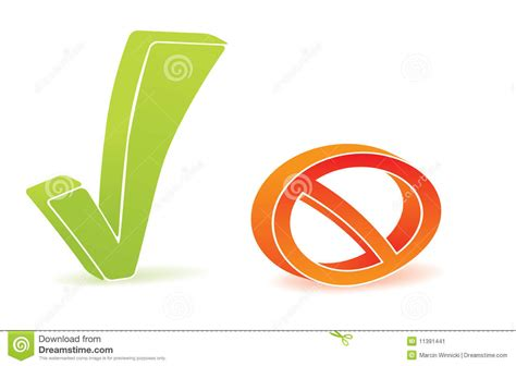 Green Tick And Block Icon Stock Vector. Illustration Of
