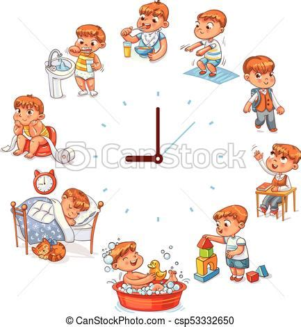 daily routine  simple watches vector set  baby