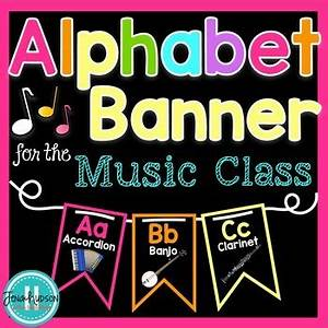 Alphabet Banner for the Music Class Neon by Jena Hudson