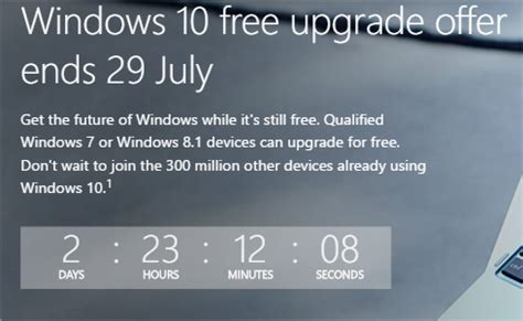 exact hour of windows 10 free upgrade period end user