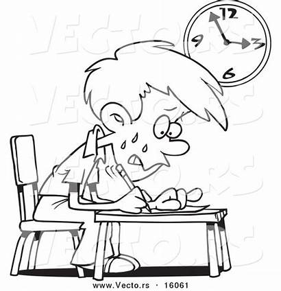 Exam Taking Stressed Cartoon Drawing Coloring Boy