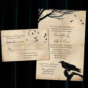 custom raven halloween wedding invitations by With personalised wedding invitations etsy