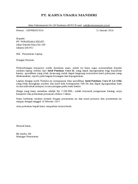 Contoh Surat Penawaran Barang Dalam Bentuk Block Style by Surat Penawaran Block Style