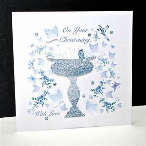 Blue Bird and Font Christening Card Decorque Cards
