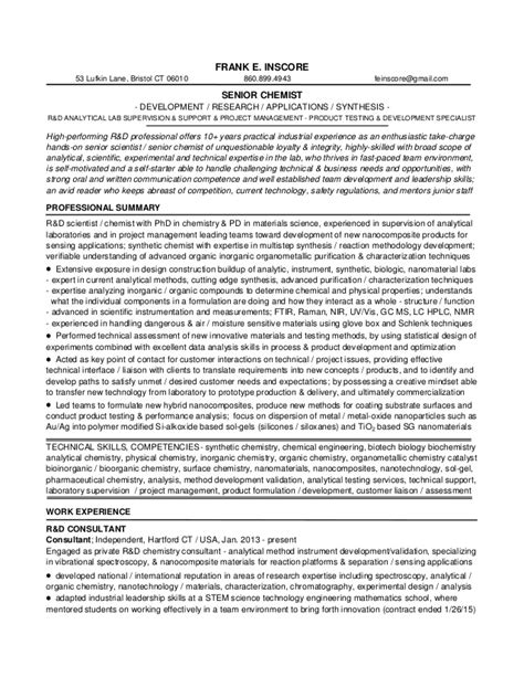 resume for formulation chemist 1d1 fei resume r d sr chemist 2015