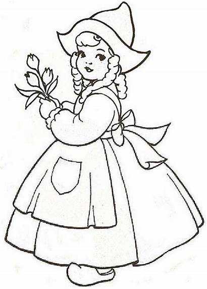 Dutch Coloring Pages Embroidery Redwork Flickr Drawing