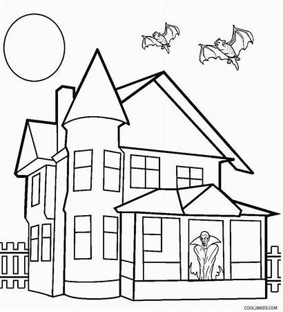 Haunted Coloring Pages Halloween Drawing Spooky Printable