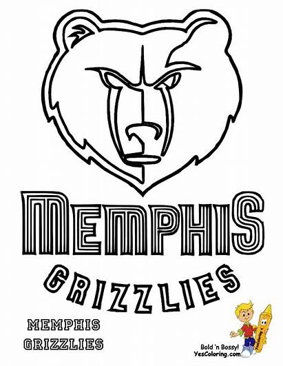 Coloring Grizzlies Basketball Memphis Clipart Pages Printables