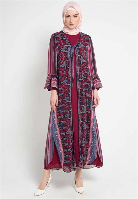 model batik gamis kombinasi polos asenwa design