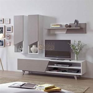 Meuble Tele Gris : meuble tv composition tv contemporain bois gris blanc line ~ Teatrodelosmanantiales.com Idées de Décoration