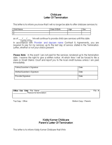 Daycare Termination Letter for Non Payment - Download this