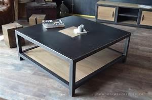 Table Basse Industrielle Carrée : table basse en bois et metal industrielle style industriel micheli design ~ Teatrodelosmanantiales.com Idées de Décoration