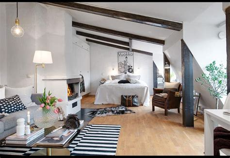 Welcoming Warm Cozy Attic Apartment Rustic Feel by Small Spaces A 470 Sq Ft Loft In Sweden Studio