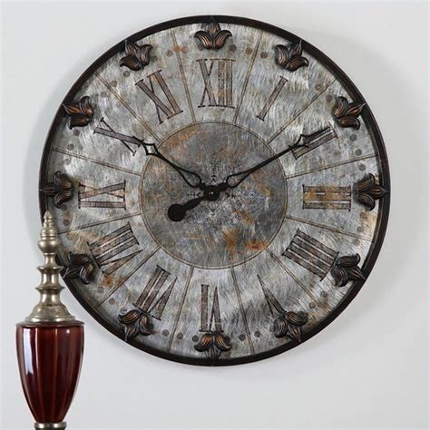 Uttermost Wall Clocks by Uttermost Artemis Antique Wall Clock In Brushed Aluminum