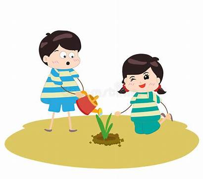 Planting Watering Plants Happy Plant Garden Cartoon