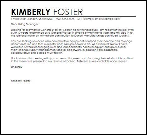 General Worker Resume by General Worker Cover Letter Sle Livecareer