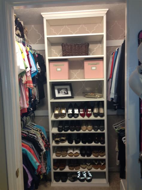 Closet Shoe Shelf Design Made From Brown Veneered Plywood
