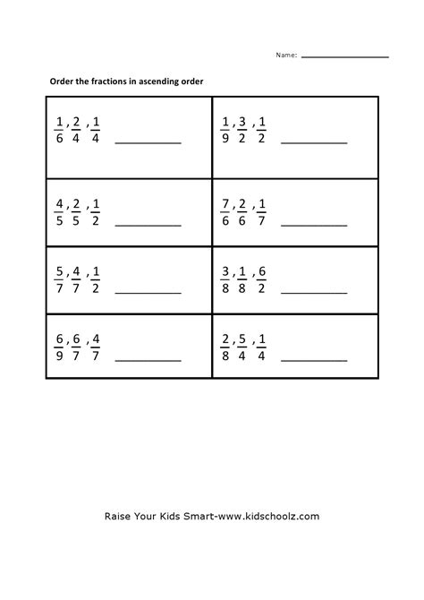 comparing and ordering fractions worksheets 4th grade