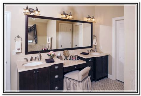 double bathroom vanities with makeup area home design ideas