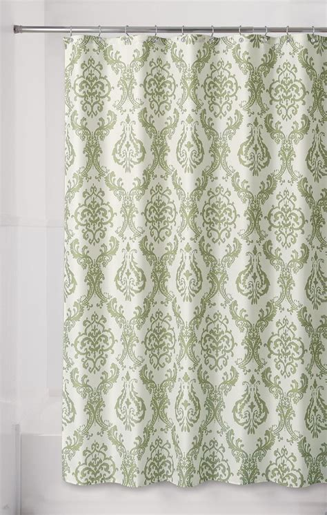 damask shower curtain essential home green damask fabric shower curtain shop